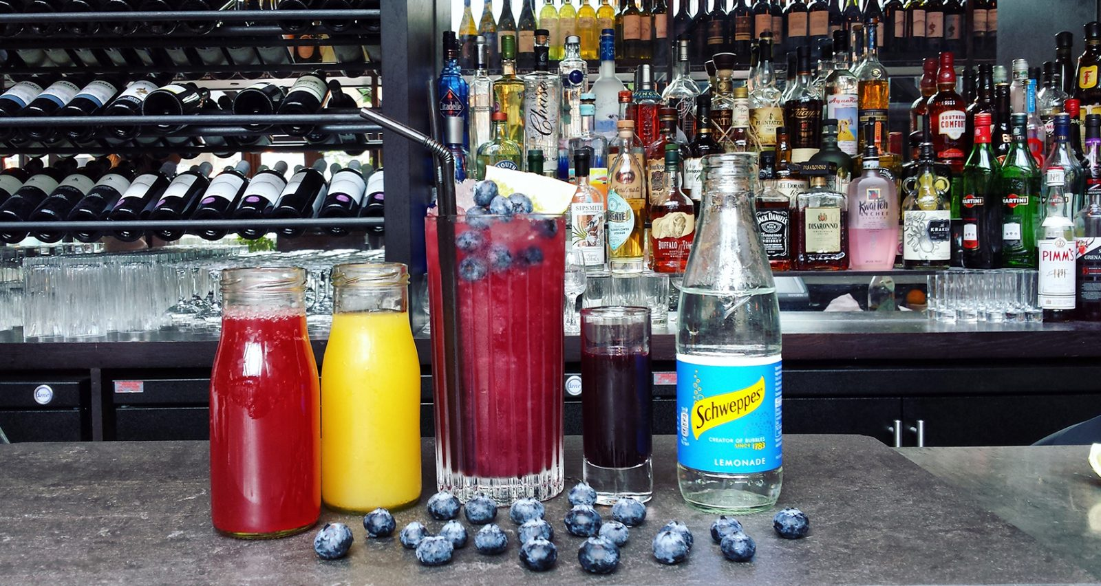 Blueberry fizz mocktail