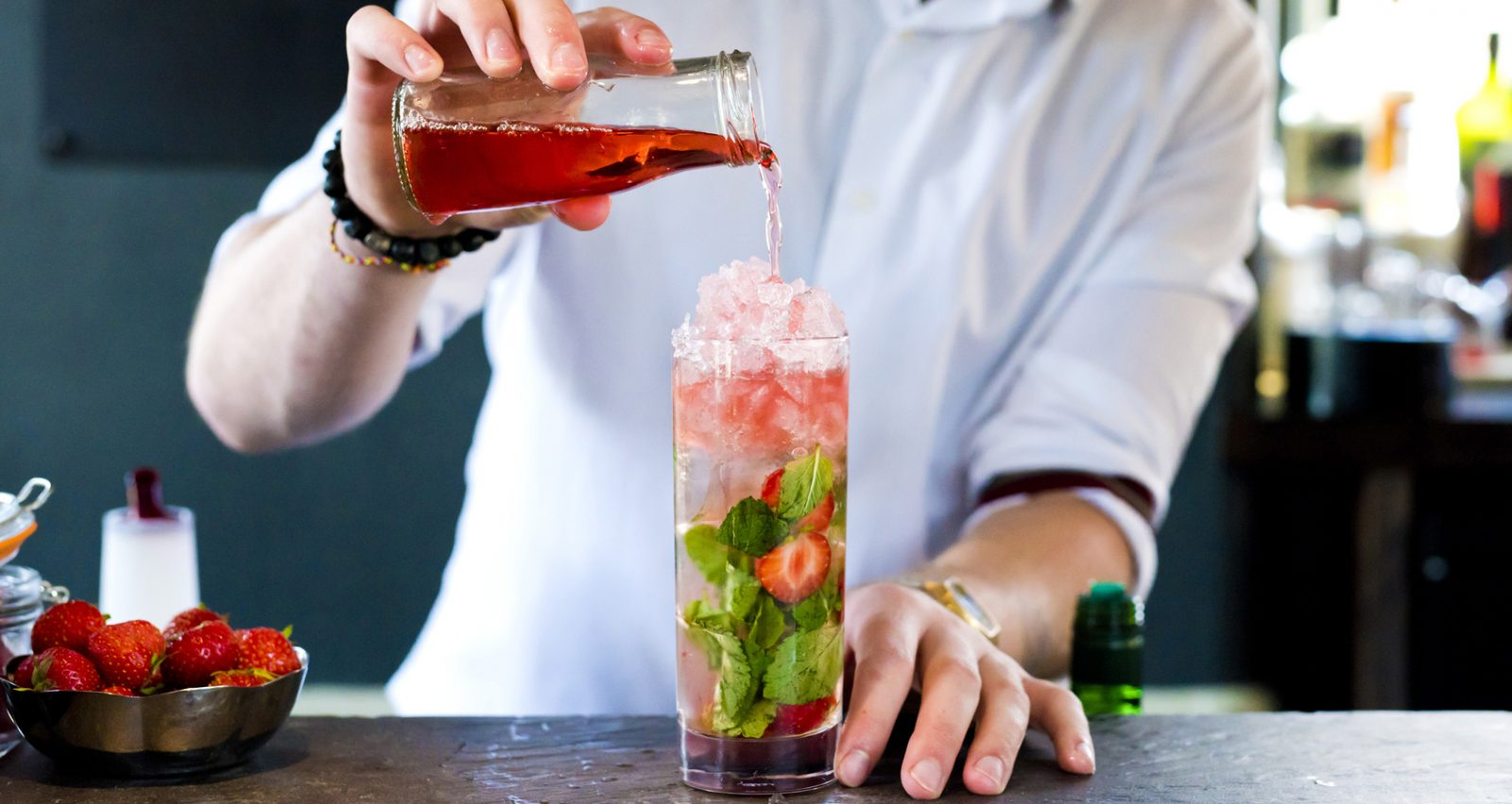 Strawberry and Mint Fizz
